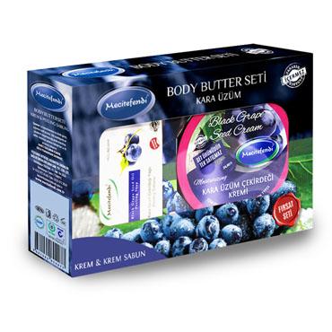 Kara Üzüm Çekirdeği Kremi + Kara Üzüm Çekirdeği Peeling Sabun Seti (200 ml + 100 gr)